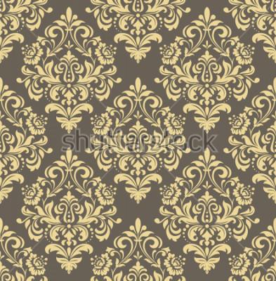 Väggdekor Bakgrund i stil med barock. Sömlös bakgrund. Guld och grått blommigt prydnad. Grafiskt mönster för tyg, tapeter, förpackningar. Utsmyckad damast blomma prydnad