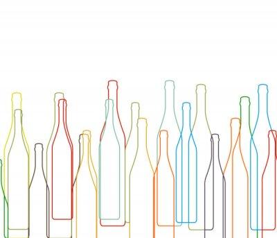 Väggdekor Bakgrund med flaskor inställd