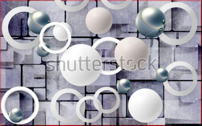 Väggdekor Balls and circles on an abstract background. Photo wallpaper for wall. 3D rendering.