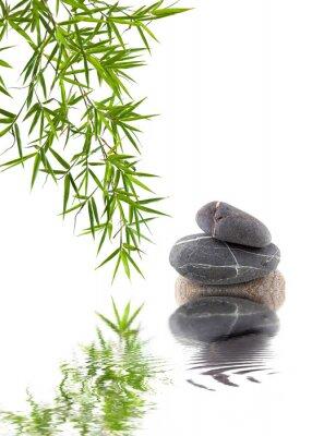 Väggdekor bambou et galets superposés