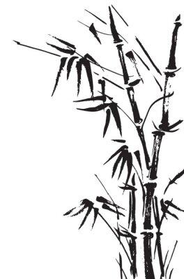 Väggdekor Bambu grenar isolerad på den vita bakgrunden. Vektor