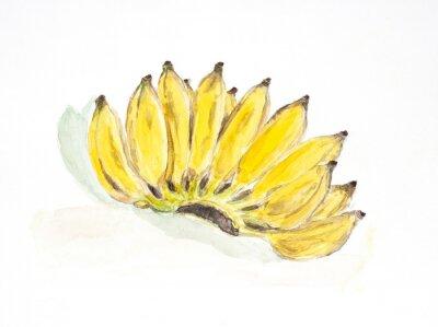 Väggdekor banan akvarell målad