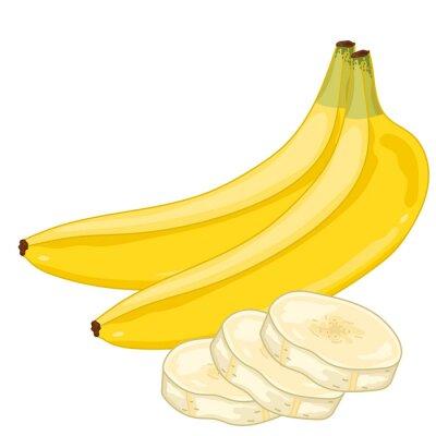 Väggdekor Banan Isolerad på vit bakgrund.