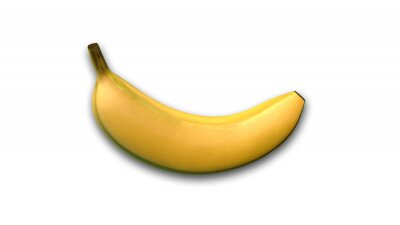 Väggdekor Banan, tropisk frukt isolerad på vit bakgrund, från sidan