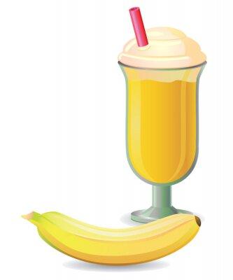 Väggdekor Banana shake med halm vektor