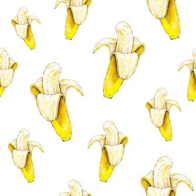 Väggdekor Bananer på vit bakgrund. Seamless mönster. Vattenfärgillustration. Tropisk frukt. Handarbete