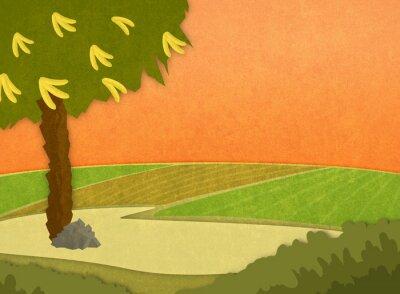 Väggdekor Bananträd med bananer på ängen vid solnedgången. Tecknad elegant bakgrund raster illustration.