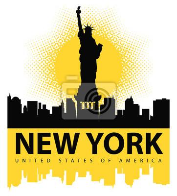 Väggdekor banderoll med Frihetsgudinnan på bakgrunden av New York, och solen