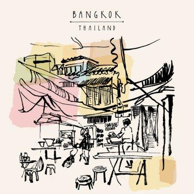 Väggdekor Bangkok handritad vykort