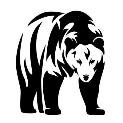 Väggdekor bära svart och vit design