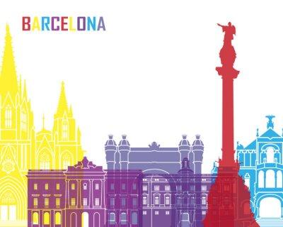 Väggdekor Barcelona skyline pop
