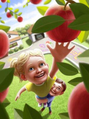 Väggdekor Barn gående för ett äpple