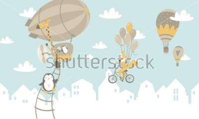 Väggdekor Barn grafisk illustration. Används för tryck på väggen, kuddar, dekoration barn inredning, baby kläder och skjortor, gratulationskort, vektor och andra