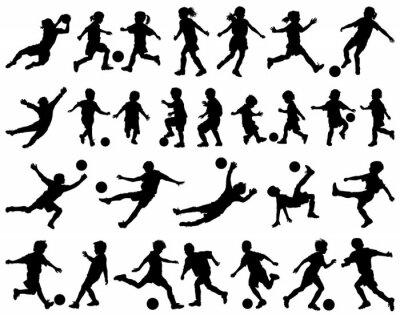 Väggdekor Barn spelar fotboll vektor silhuetter