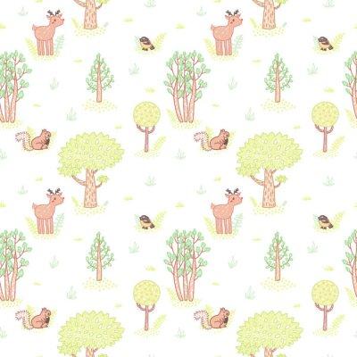 Väggdekor Barn stil ritning söt klotter träd vektor seamless.