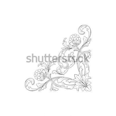 Väggdekor Barock prydnad med filigran i vektorformat för designram, mönster. Vintage hand dras viktorianska eller damast blommig element. Svartvit graverad bläckkonst.