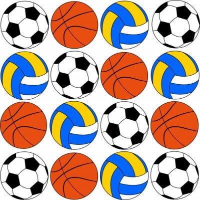 Väggdekor basket ikoner fotbollar och volley