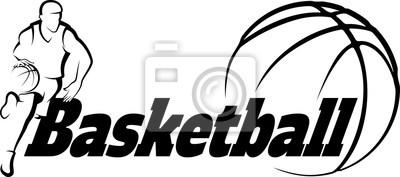 Väggdekor Basket Kör till korg med stiliserade boll med ord Basketba