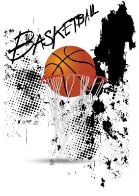 Väggdekor basketkorgen på vit grunge bakgrund