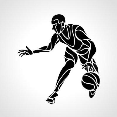 Väggdekor Basketspelare abstrakt silhuett
