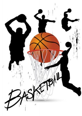 Väggdekor basketspelare i hållning hoppning på vitt