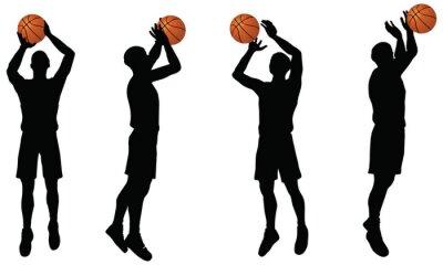 Väggdekor basketspelare silhuett samling i shoot läge