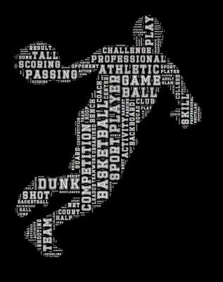Väggdekor Basketspelare uttrycka molnet, basket typografi bakgrund