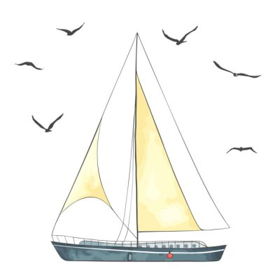 Väggdekor Båt med segel och måsar gjort i vektorn