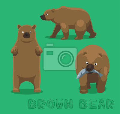 Väggdekor Bear Brown Bear tecknad vektorillustration