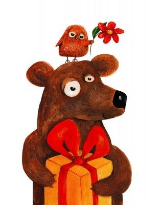 Väggdekor Bear med uggla med nuvarande. Akvarell och gouache Illustration