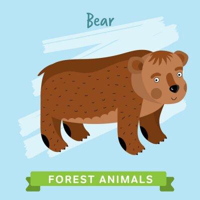 Väggdekor Bear raster. Vilda och skogens djur. Tecknad tecken illustration. Rolig djur.