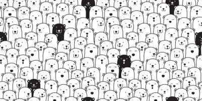 Väggdekor Bear sömlösa mönster vektor isbjörn scarf isolerade tecknad illustration kakel bakgrund upprepning tapet doodle