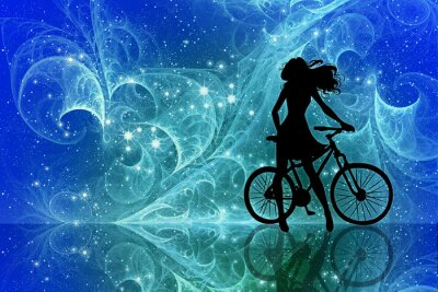 Väggdekor Beautiful girl silhouette and bicycle on fantasy sky stars. Young woman in dress with long curly hair standing with bike on bright abstract space background.
