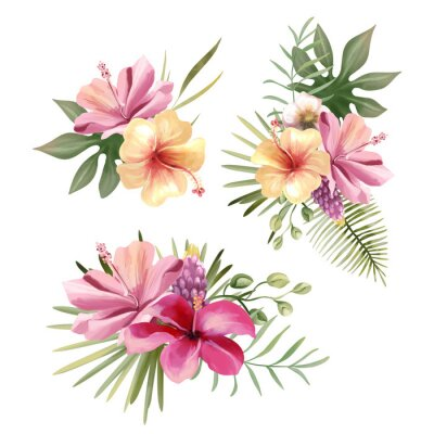 Väggdekor Beautiful tropical exotic flowers, floral bouquets, compositions, arrangement, wreaths watercolor illustration isolated on white