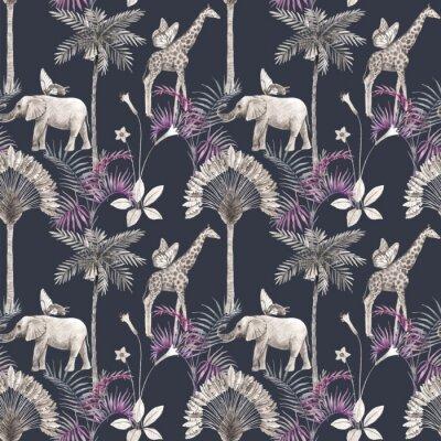 Väggdekor Beautiful vector african safari animal tropical seamless pattern. Trendy style. Print with elephants and giraffe. Dark background,