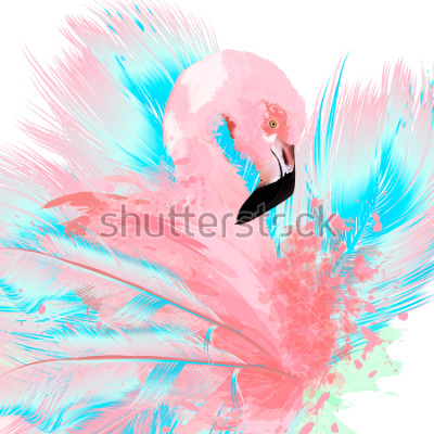 Väggdekor Beautiful vector illustration with drawn pink flamingo and blue feathers
