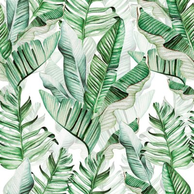 Väggdekor Beautiful watercolor seamless pattern with tropical leaves and banana leaves.