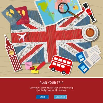 Väggdekor Begreppet resa eller studera engelska.