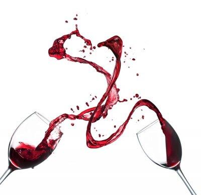 Väggdekor Begreppet rött vin stänk från glas på vit bakgrund