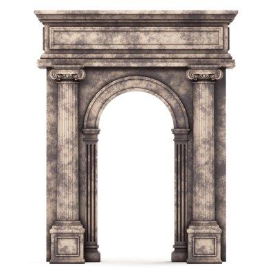 Väggdekor Beige Marble Composite Arch isolerad white