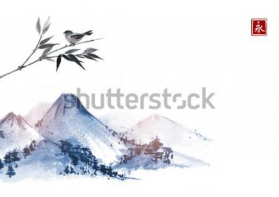 Väggdekor Berg och liten fågel på bambufilialen. Hieroglyf - evighet.Traditionell orientalisk färgmålning sumi-e, u-sin, go-hua.