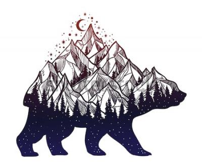 Väggdekor Berg- och nattskogbergslandskap, dubbel exponering, tatueringskonst för djurliv, fantasistil Vektor isolerad illustration.