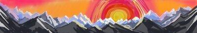 Väggdekor berg soluppgång eller solnedgång, digital abstrakt konstmålning av robust bergskedjan med stora färgglada solen eller stigande, webbplats sidhuvud eller sidfot