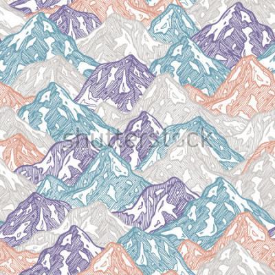 Väggdekor Berg sömlöst mönster. Rolig berg ladaillustration. Vektorillustration