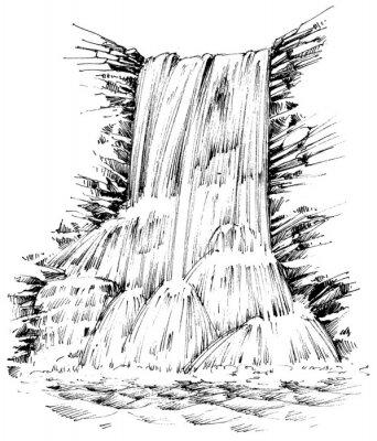 Väggdekor Berg vattenfall grafisk illustration