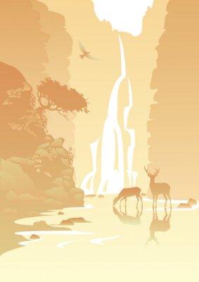 Väggdekor bergslandskap med ett vattenfall