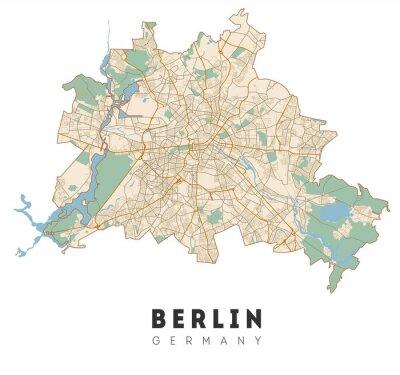 Väggdekor Berlin map. Detailed poster city map Berlin. Germany