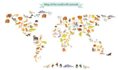 Väggdekor Beste däggdjur map silhuetter. Djur världskarta. Isolerad på vit bakgrund vektor illustration. Färgrik tecknad illustration för barn och andra människor. Utbildning