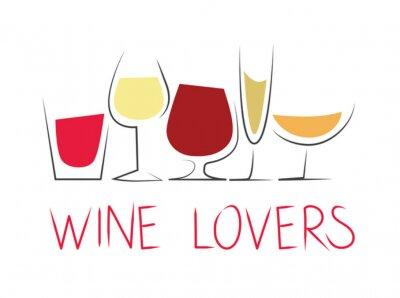 Väggdekor Bicchieri di vino differenti con dicitura