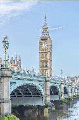 Väggdekor Big Ben med Westminster Bridge och Themsen i London